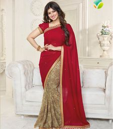 Buy red  and  gold printed georgette saree with blouse georgette-saree online