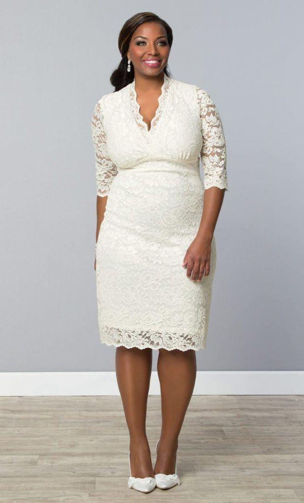 10 best images about short plus size wedding dress on for Plus size wedding dresses short
