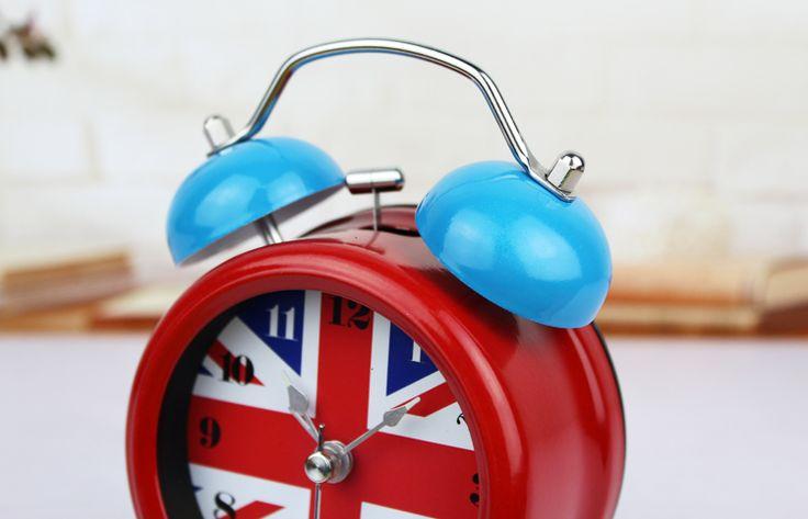 De estilo britânico, Inglaterra, Bandeira britânica relógio de sino de metal, De alta qualidade nightlight de mesa mesa mesa despertador mudo, Estudo decor
