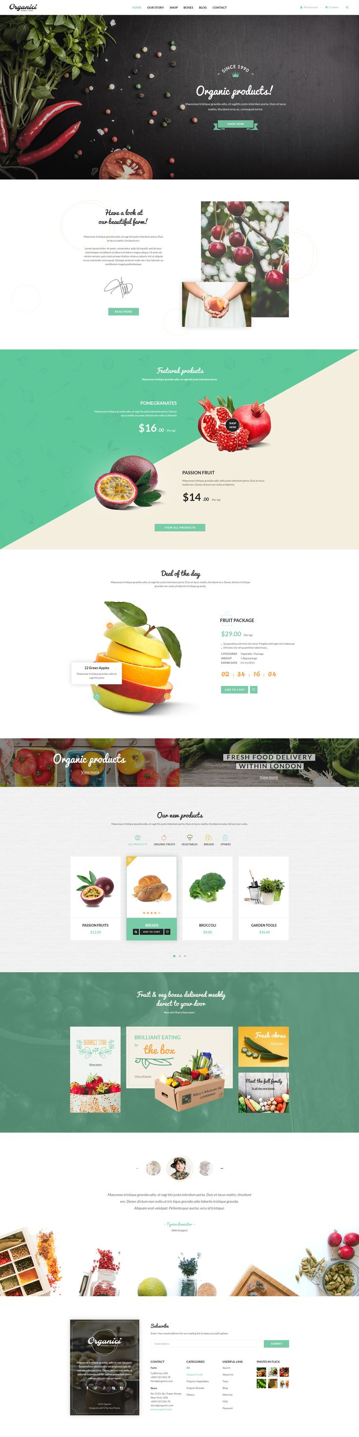 Organici is the premium #PSD #template for #Organic Food Shop. The template includes essential pages for a Organic Store: Shop, Product Detail, Shopping Cart, Checkout, Blog, Contact.  15 PSD files in total. Download Now➝ http://themeforest.net/item/organici-organic-store-psd-template/13558051?ref=Datasata