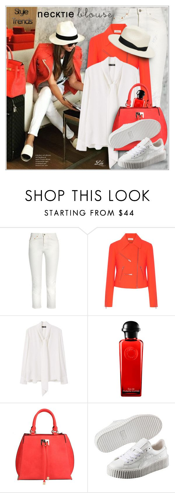 """""""*Fall Trend: Necktie Blouse"""" by breathing-style ❤ liked on Polyvore featuring Acne Studios, A.L.C., MANGO, Hermès, SW Global, Puma and rag & bone"""