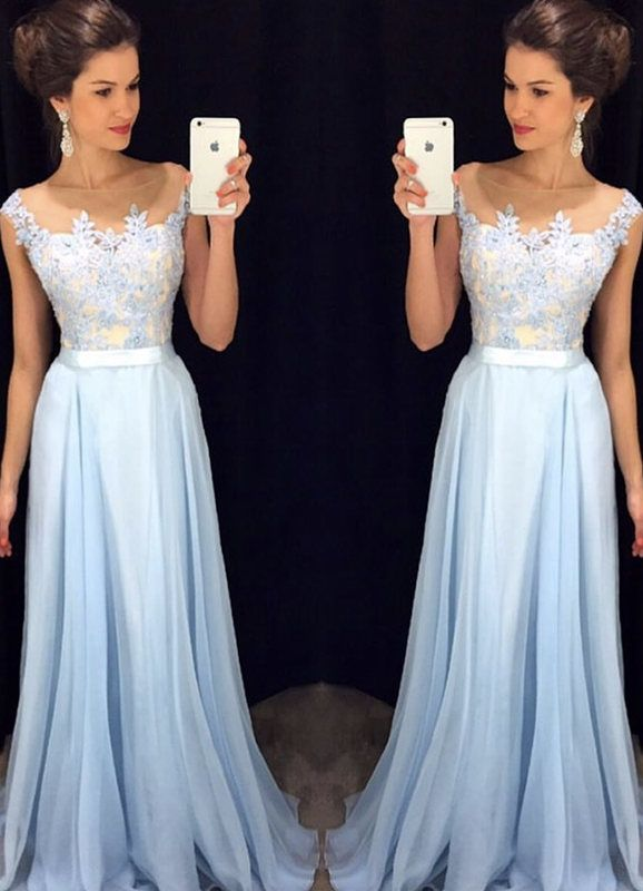 Light blue A-line chiffon lace long prom dress, bridesmaid dress sold by cutedress. Shop more products from cutedress on Storenvy, the home of independent small businesses all over the world.