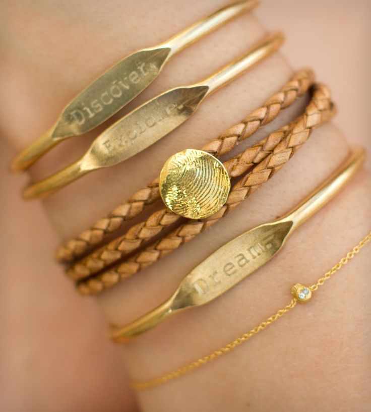 Twain Engraved Brass Cuffs - Set of 3 | Jewelry Bracelets | Jook & Nona | Scoutmob Shoppe | Product Detail