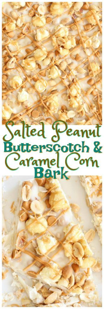This Salted Peanut Butterscotch Caramel Corn White Chocolate Bark is sweet, salty, and super quick to make! It's got a little bit of everything, and it's ready in minutes!