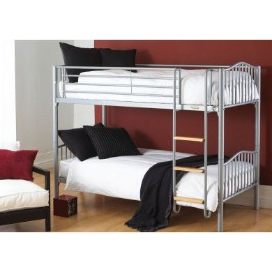 The Apollo bunk from Hyder is a metal bunk bed with swimming pool style ladder that can placed either side of the bed for flexibilty. The bases are sprung wooden slats for comfort and a range of mattresses are available.