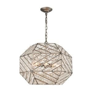 Titan Lighting Constructs 8-Light Weathered Zinc Chandelier With Metal And Crystal Shade-TN-75600