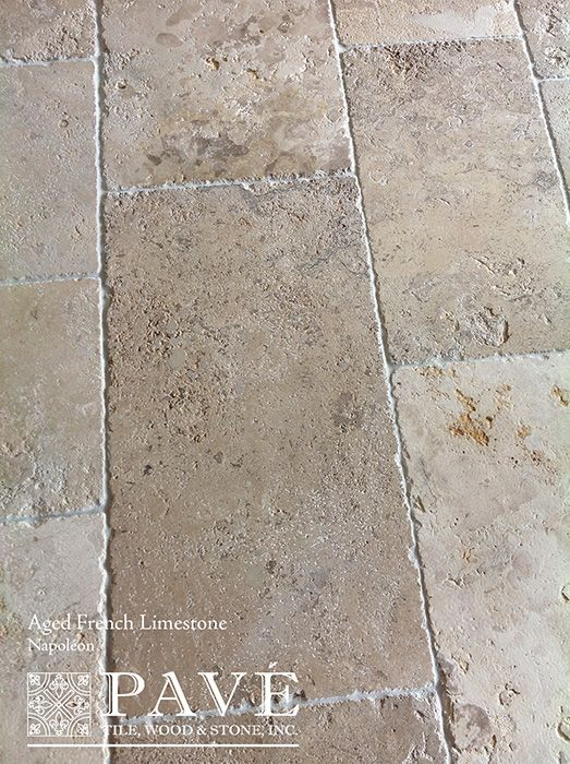 Pavé Tile, Wood & Stone, Inc. > Aged French Limestone and Belgium Bluestone: François' Edited Aged French Limestone Collection - this would look stunning and we could use for path too depending on the size.