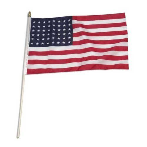 """USA 48 star 12in x 18in Stick Flag by US Flag Store. $2.20. Sewn Edges. Low Cost Shipping Available!. Mounted to a 24"""" Stick with Gold Spear Tip. 12"""" x 18"""" Stick Flag. Printed Poly-Cotton Fabric. USA 48 star flag as adopted in 1912, two stars were added, representing Arizona and New Mexico, bringing the total number of states to 48. This was the USA flag for 47 years. The 48 star flag was in service during both World War I and World War II. Our USA 48 star flag 12"""" x 18"""" i..."""