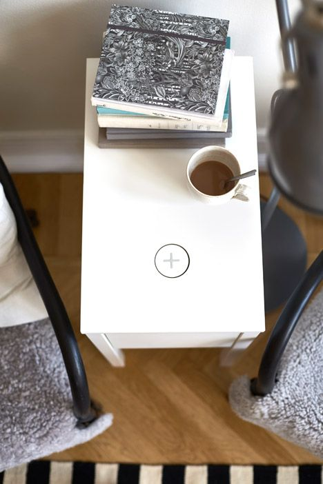 Ikea's new collection each have an integrated pad that can charge portable electronic devices simply by placing them on top.