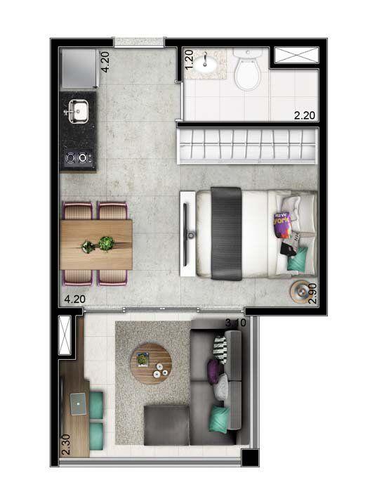 apartamento de 1 dormitório - 27m²