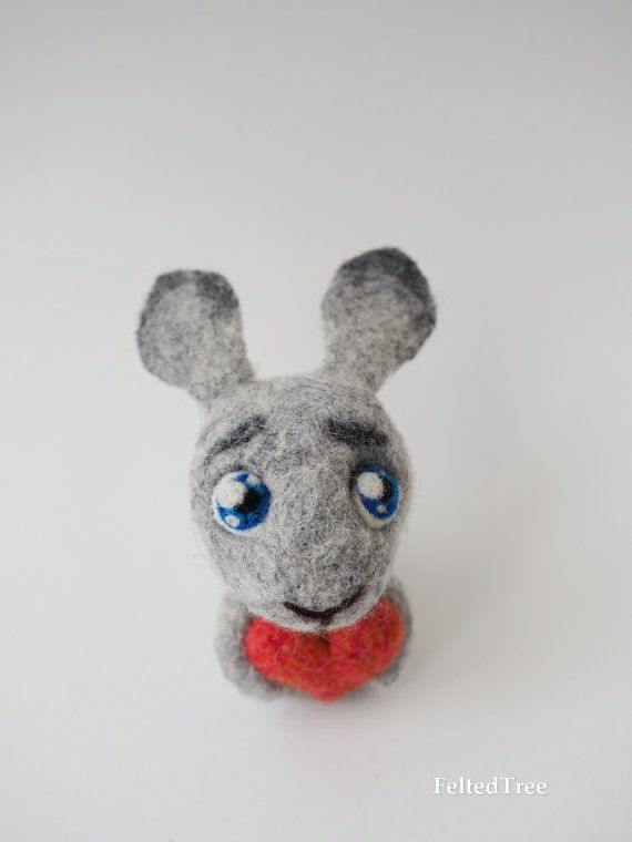 Felted toy, rabbit in love, funny toy, cute, crazy, gift