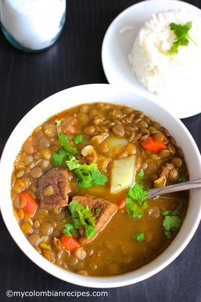 Lentils and Beef Soup (Sopa the lentejas con carne) From:  myclombianrecipes.com By  Erica Dinho