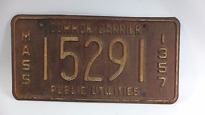 1957 Massachusetts Interstate Public Utilities License Plate Common Carrier