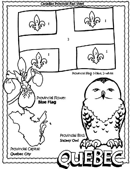 Canadian Province - Quebec coloring page Helpful for memory work with Claritas Classical Academy Cycle 3 Geography http://claritasclassicalacademy.com/Curriculum.html