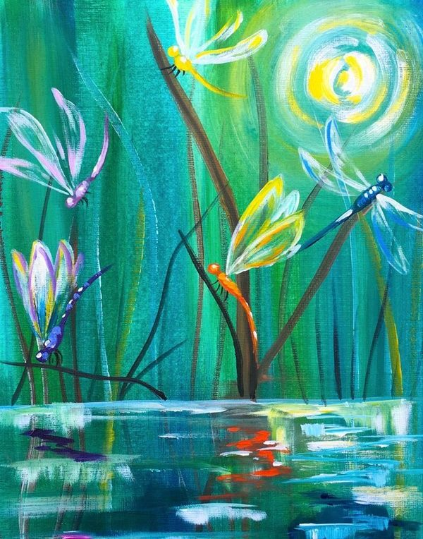 Acrylic Painting Pond, Insects & Reflections, 80 painting ideas for beginners.
