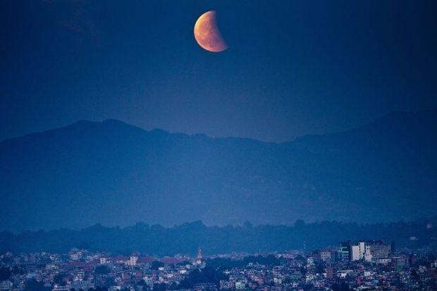 Blood moon over Kathmandu