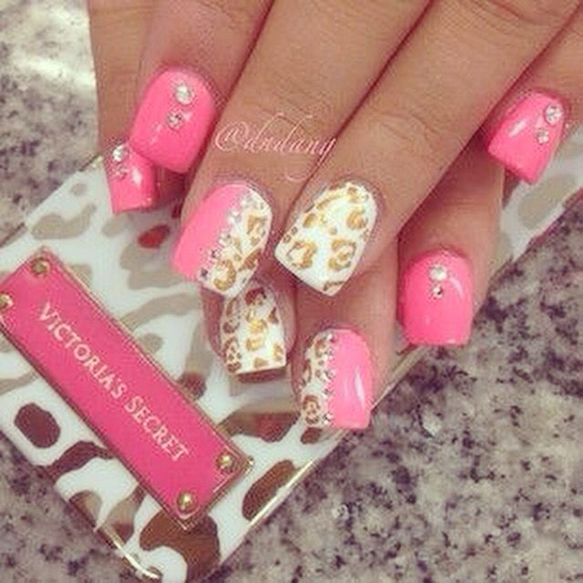 Victoria secret nails - Pink with gold leopard