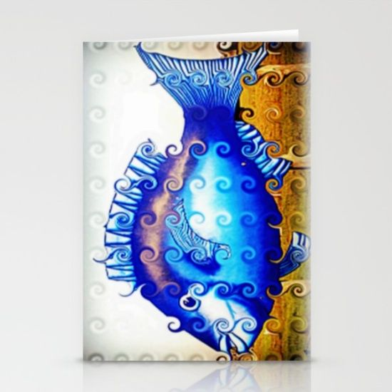 Fish, Blue, Digitally manipulated, Design, Décor.