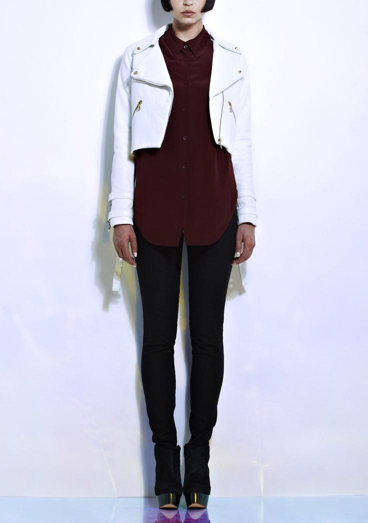 Charlie May | White Leather Biker Jacket