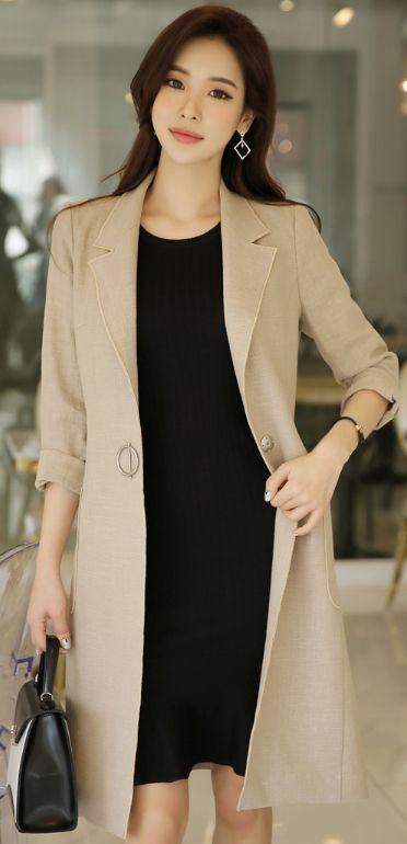 StyleOnme_Single Button Linen Long Jacket #beige #simple #chic #linen #jacket #officelook #koreanfashion #spring #feminine #elegant #kstyle