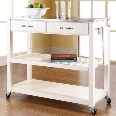 Alcott Hill Bernice Kitchen Cart with Stainless Steel Top & Reviews | Wayfair