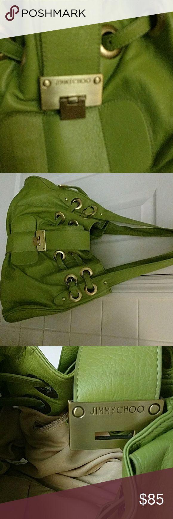 Leather olive green Jimmy Choo handbag Olive green leather drawstring closure gold buckles tan lining Jimmy Choo Bags Shoulder Bags