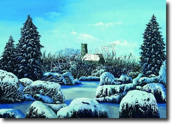 """Kyriacos Kyriacou è originario di Cipro.  Ha creato l'opera """"Paesaggio fluviale invernale vicino al castello"""", dipinta con l'utilizzo esclusivo della bocca.  La tecnica utilizzata è quella a olio; il formato originale è 33x46 cm."""