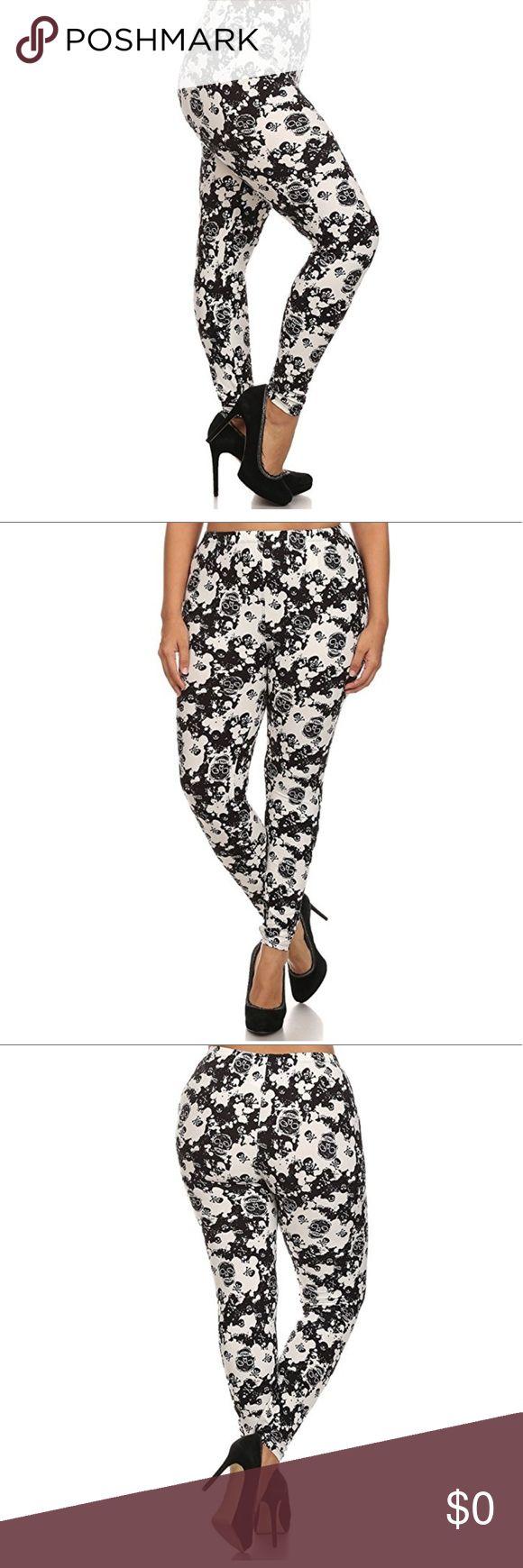 Plus Size Leggings Plus Size Black & White Skull Pattern Leggings. 92% Polyester, 5% Spandex Pants Leggings