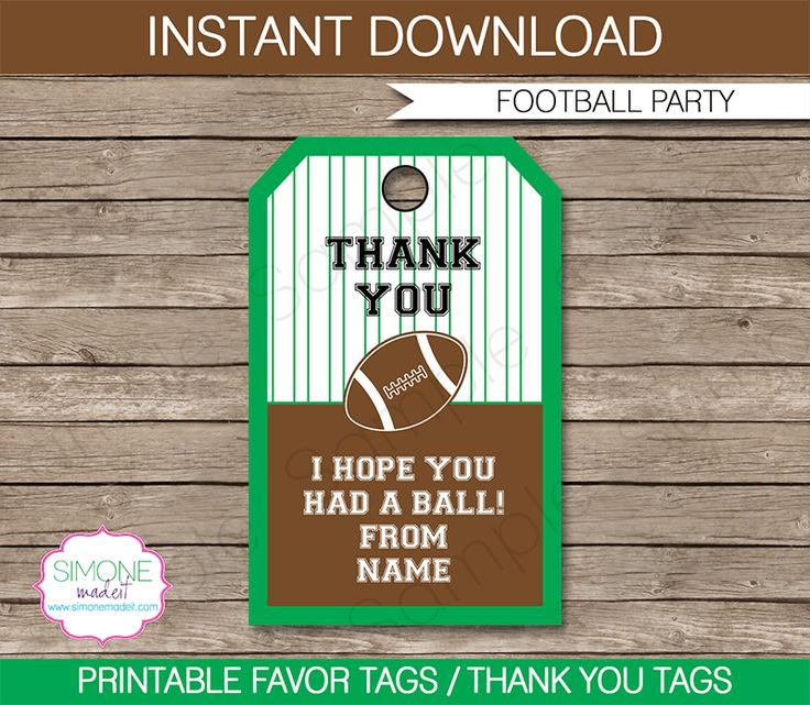 Football Party Favor Tags | Thank You Tags | Game Day | Birthday Party | Tailgate Party | Editable DIY Template | $3.00 INSTANT DOWNLOAD via SIMONEmadeit.com