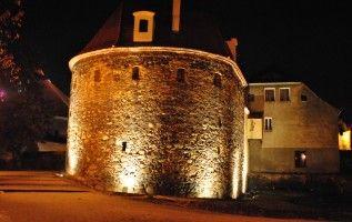 Illuminated bastion n Kozuchów, western Poland.