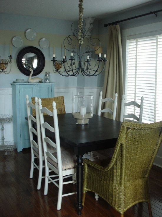 Green Wicker For The Back Painted Design Pictures Remodel Decor And Ideas Casual Dining RoomsEclectic RoomsTraditional