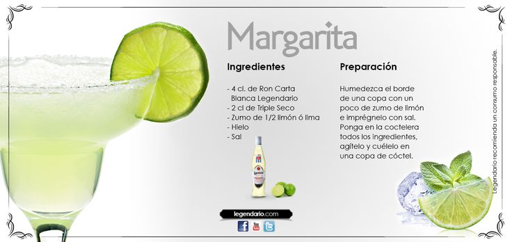 Receta margarita legendario cocktails pinterest for Preparacion de margaritas