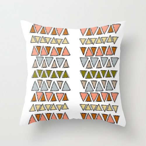 Geometric Aztec Triangle Home Decor Throw Pillow Cover, Illustrated Decorative Pillow, Triangle Accent Pillow on Etsy, $36.00