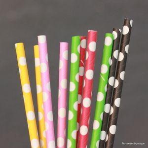 Pailles de couleur à pois blancs - 6 coloris