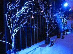 Bucket Branches | Church Stage Design Ideas-spray painted white with hanging lights for xmas?