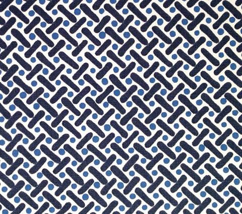 Alan Campbell Fabric: Kells II - Custom Navy / French Blue on White Suncloth (Indoor/Outdoor Quality)