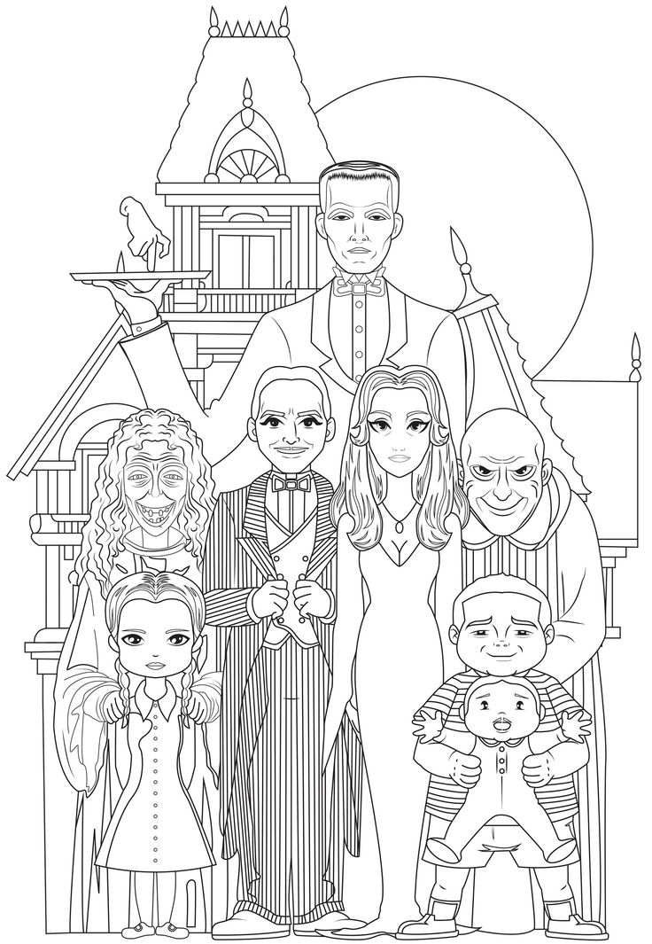 The whole Addams Family Gomez and Morticia Addams, their