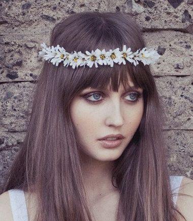 Eterie Daisy Chain Flower Headband, gypsy, Headpiece, Daisy, woodlands , Boho, White flower, floral crown, Flower Crown, wreath, etherial. $35.00, via Etsy.