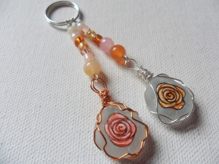 Orange roses sea glass and bead hand painted bag charm - Zipper pull by ShePaintsSeaglass on Etsy