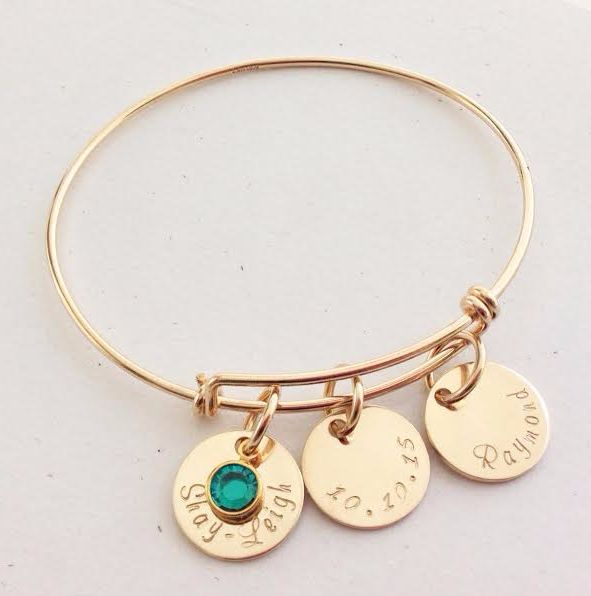 Gold Adjustable Bangle with personalised gold discs and swarovski crystal birthstone.  Order yours today at www.lovencherish.com