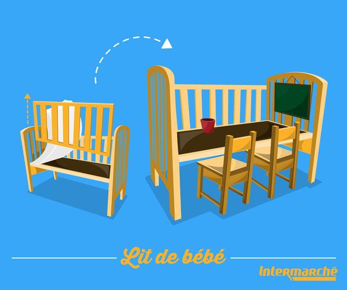 Bébé a grandi et n'utilise plus son lit à barreaux ? Transformez-le en bureau de grand ! #Astuce #Bébé #Intermarché