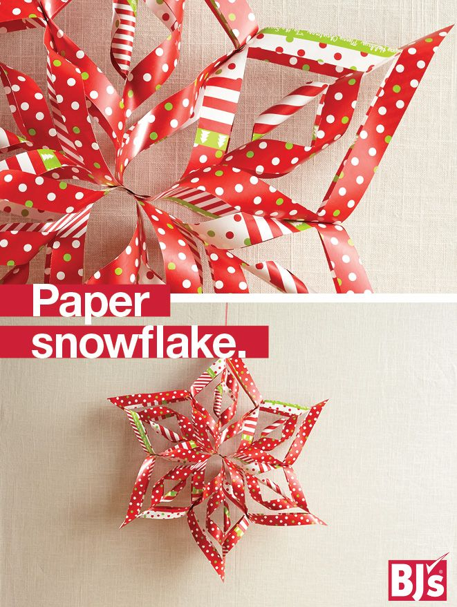 Paper Snowflake Decorations - Double-sided wrapping paper craft project. Turn wrapping paper scraps into colorful homemade ornaments for your holiday tree. http://stocked.bjs.com/content/reversible-paper-snowflakes