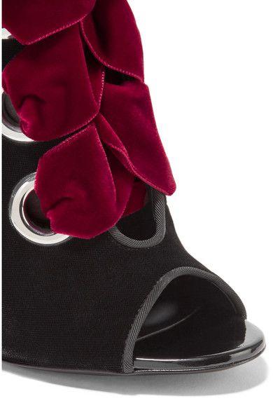 Giuseppe Zanotti - Lace-up Velvet Ankle Boots - Burgundy