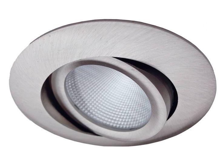 34,95 IP20 77mm  LED inbouwspot 'Bex', warm wit, 8 Watt Dimbaar, Kantelbaar. In geborsteld aluminium (RVS look)