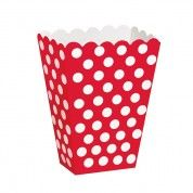 Ruby Red Polka Dot Treat Boxes for Canada Day! Find them at www.partystock.ca