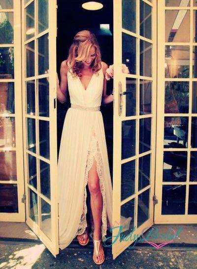 Romantic boho chiffon and lace underlay slit wedding dress.