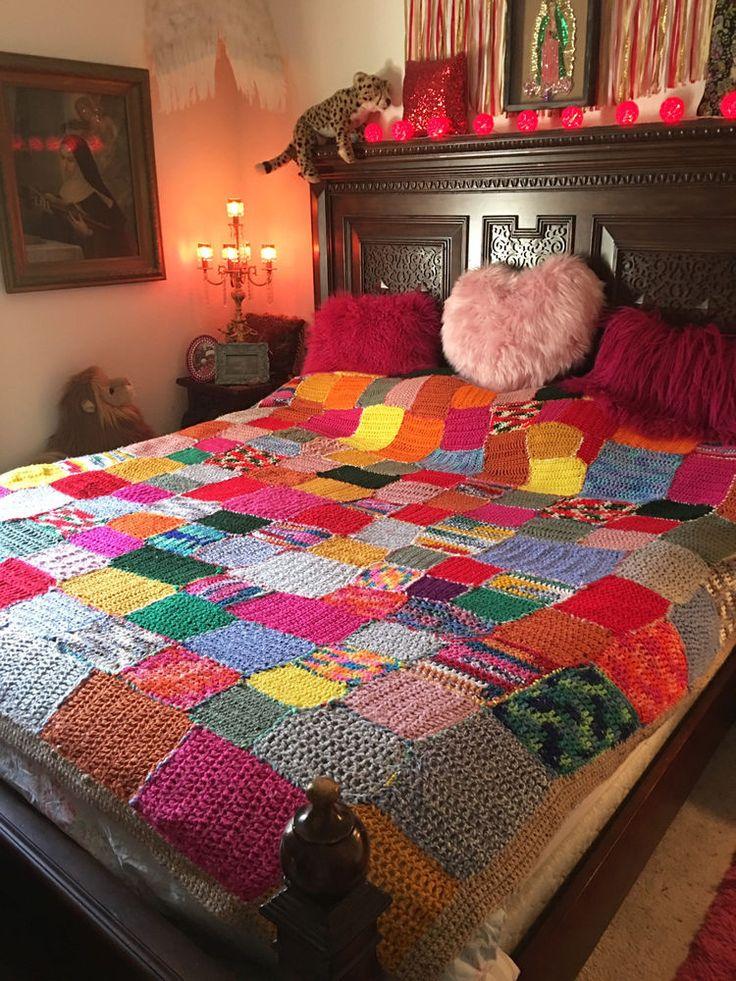 Vintage 70s Granny Square Crochet Multi Color PINKS! HUGE King Size Blanket #VintageRetro