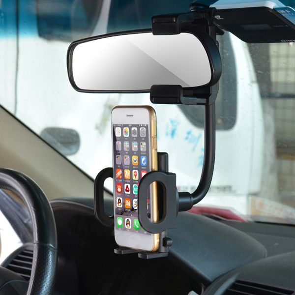 Cobao Universal Rear View Mirror Mount Bracket Phone Holder for GPS Phone 3.5-6 inch  Features 1. Rearview mirror bracket suitable for smartphone GPS PDA MP4 and etc. from 3.5-6 inch 2. Extra-firm goose neck shape bracket adsorbs vibration provide stable viewing environment. 3. Convenient for driving would not block the line of sight. 4. 360 degree rotation you could adjust the view angle you want. 5. If the rearview mirror is oval not recommended to buy this product. Description Compatible…