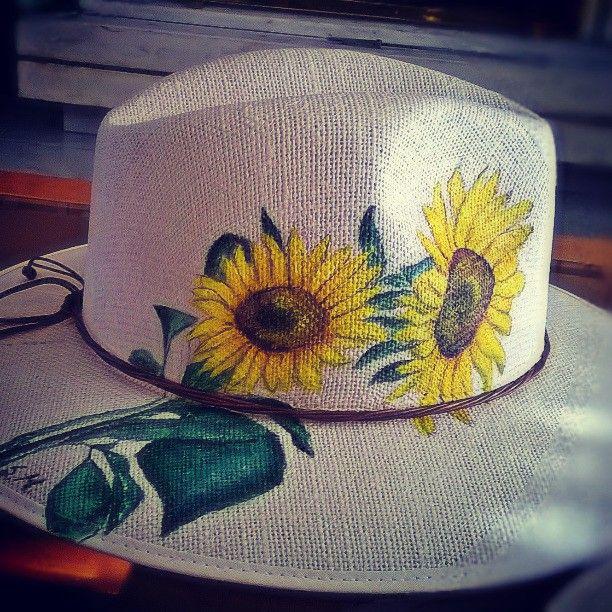 "Handmade paintings hat "" sun flowers"""