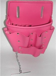 Women's Smooth Premium Leather Pink Electricians Tool Pouch-Only at…
